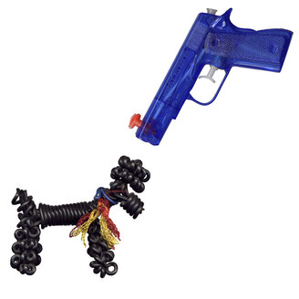 close-up of a water pistol with wire poodle - MN00062