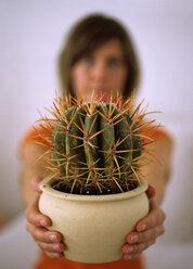 Woman holding cactus, close-up - DK00064