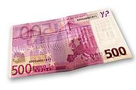 500 euro bank note, elevated view - 01027CS-U