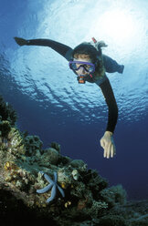Diver over corals - GN00540