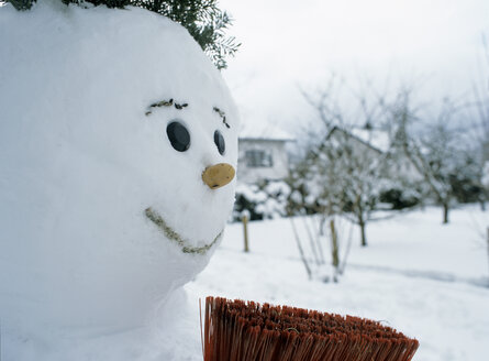 Snowman and broom, close-up - PEF00188