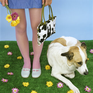 Young woman standing by dog, low section - JLF00062