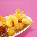 Fried prawns with dip, close-up - WESTF00420