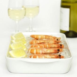 Prawns with lemon slices on crushed ice and white wine, close-up - WESTF00758