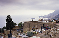 France, Trees in graveyard with sea in background - MS01883