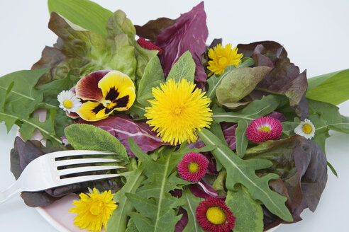Summer salad with edible flowers - GWF00279