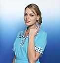 Woman with light blue dress, portrait - JL00200