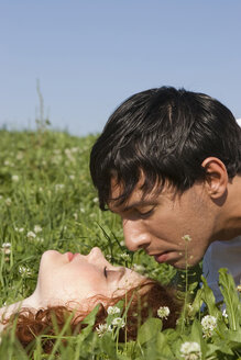 Young couple in meadow, close-up - LDF00217