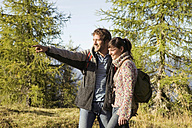 Young couple walking in meadow, man pointing - BABF00104