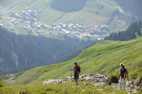 Two people hiking in mountains - MRF00649