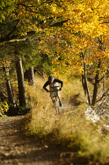 Young man mountain biking in forest - MRF00803
