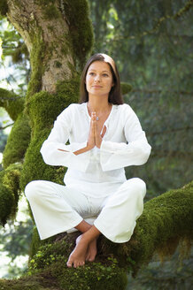 Young woman meditating on tree branch - HHF01158