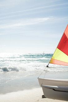 Spain, Fuerteventura, sailing boat on shore - UKF00140