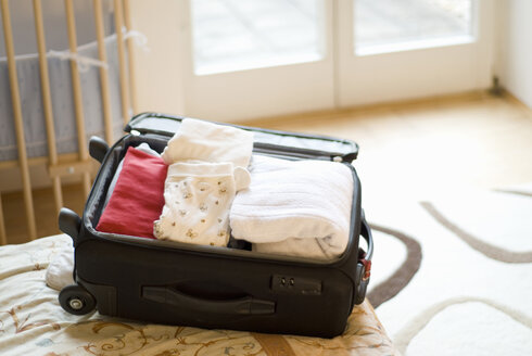 Packed case on bed - NH00388