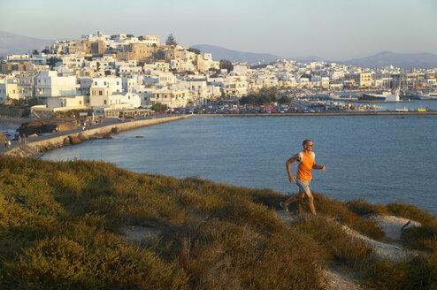 Greece, Naxos, jogging on the coast - MRF00856