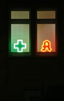 Illuminated pharmacy signs, close-up - TL00006