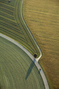 Germany, Bavaria, fields and country roads, aerial view - GNF00925
