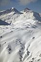 Austria, Vorarlberg, Lech, snowy mountain range - MRF00914