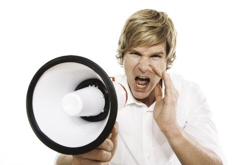 Man using megaphone, close-up - PKF00096