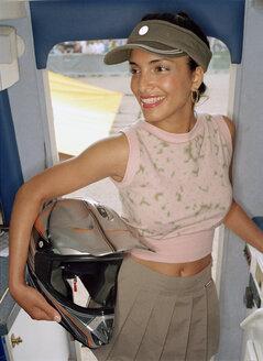 Woman in van, portrait - PK00204