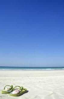 VAE, Dubai, Jumeirah Beach, shells in bathing shoes - LF00117
