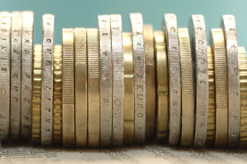 Piled euro coins, close-up - ASF03464