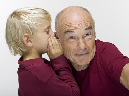 Grandfather and grandson, (8-9) portrait, close-up - WESTF06469