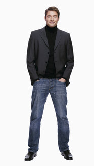 Young man in jeans and jacket, portrait - KMF01095
