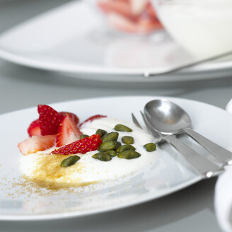 Yoghurt with strawberries and pistachios, close-up - CHKF00460