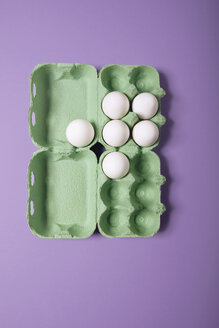 Eggs in egg box, elevated view - MNF00114