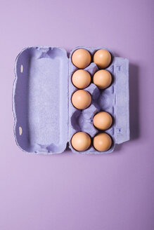 Brown eggs in violet egg carton, elevated view - MNF00111