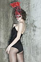 Woman in lingerie wearing a mask - TH00697