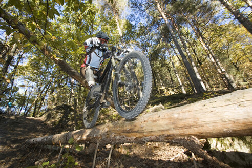 Italy, Southern Tyrol, man mountain biking - FFF00853
