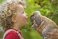 Blonde girl (4-5) with curly hair holding rabbit, portrait - SHF00212
