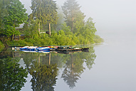 Germany, Schwarzenbach, storage lake with fog - SHF00176
