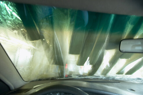 Car wash site, seen through windscreen - THF00766