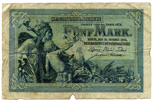Old German Reichsmark banknote, close-up - TH00748