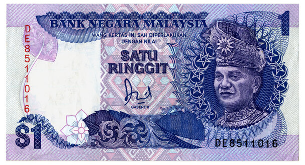 Malaysian one dollar note, close-up - TH00733
