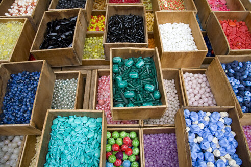 France, Paris, Market stall with buttons - WDF00018
