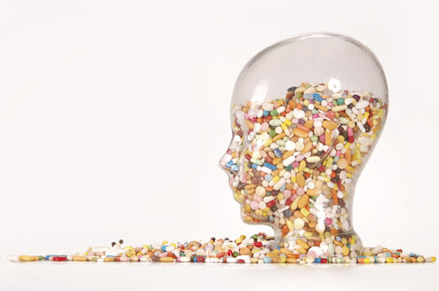 Collection of Pills in Glass, head-shaped - 00407LR-U