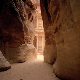 Jordan, Petra, Rock formation, temple in background - GA00079