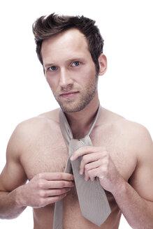 Barechested Man Wearing a Necktie, portrait - BMF00320