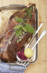 Roasted goose in roasting tray with dumpling and red cabbage, elevated view - SC00297
