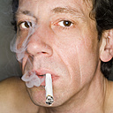 Man smoking, close-up, portrait - MUF00575