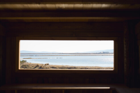 Greece, Lesbos, Coastline seen through window - JRF00064