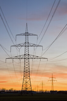 Germany, Bavaria, Pylons at sunset - FOF00857