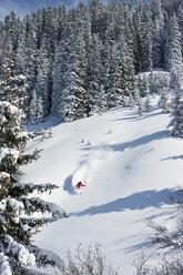 Austria, Tyrol, Kitzbühel, Pass Thurn, Freeride, Man skiing downhill - FFF00930