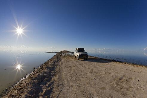 Africa, Namibia, Etosha National Park, Car on lakeshore - FOF01122