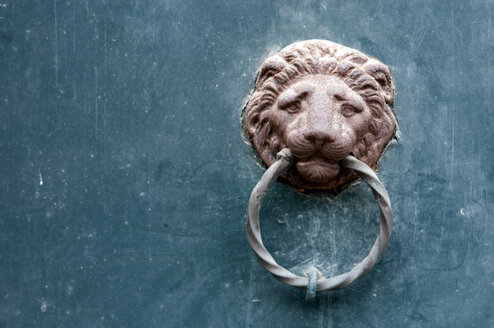 Italy, Venice, Lion head door knocker, close-uo - AWDF00044