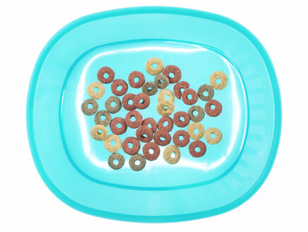 Cat food on plastic plate, elevated view - THF00857